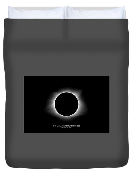 Duvet Cover featuring the photograph Solar Eclipse Ring Of Fire With Text by Lori Coleman