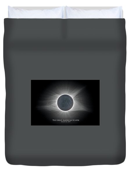 Duvet Cover featuring the photograph Solar Eclipse With Moon Detail And Text by Lori Coleman