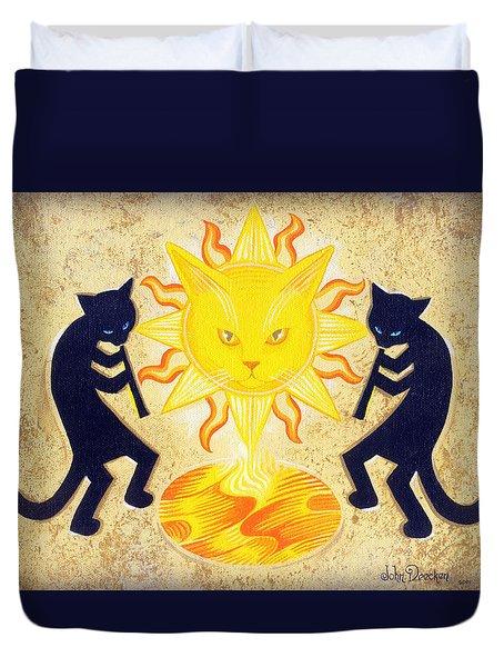 Solar Feline Entity Duvet Cover by John Deecken