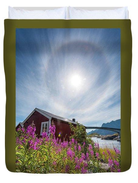 Solar Halo Above Rorbu Duvet Cover