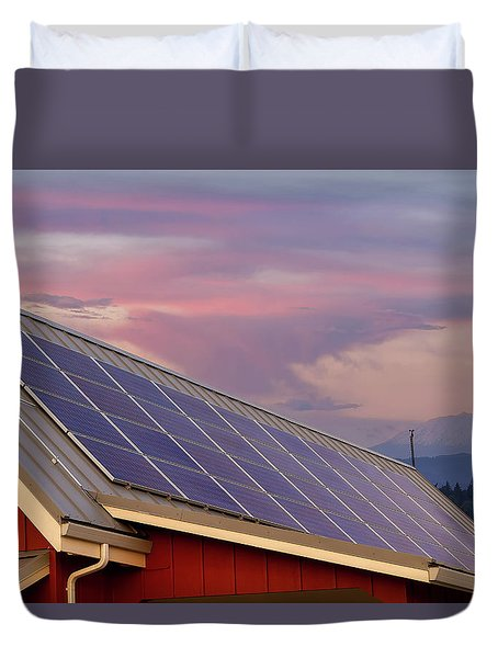 Solar Panels On Roof Of House Duvet Cover by David Gn