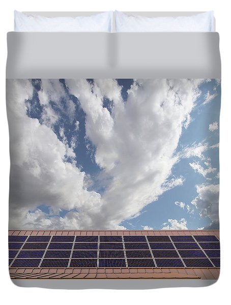 Solar Panels On Roof Top Duvet Cover by David Gn