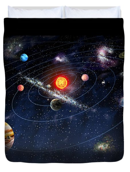 Duvet Cover featuring the digital art Solar System by Gina Dsgn