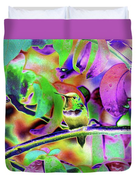 Duvet Cover featuring the photograph Solarized Hummer by Wendy McKennon