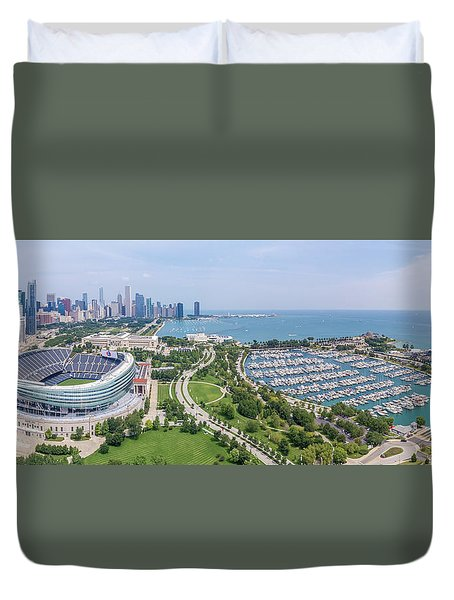 Soldier Field Panorama Duvet Cover
