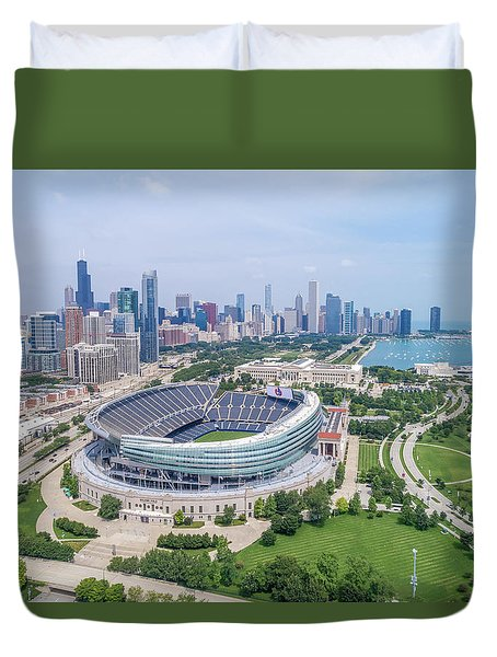 Duvet Cover featuring the photograph Soldier Field by Sebastian Musial