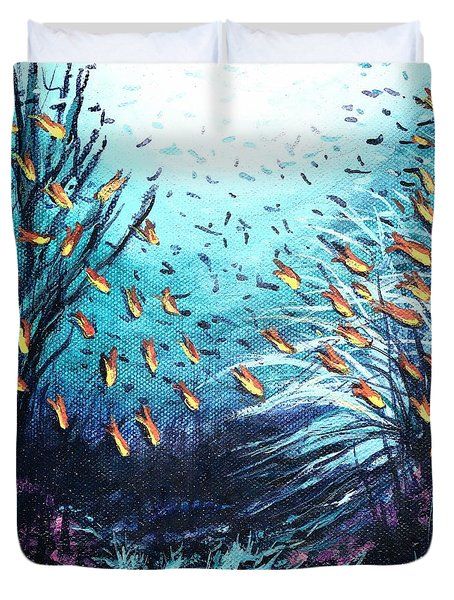 Soldier Fish And Coral  Duvet Cover