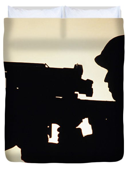 Soldier Holds A Stinger Anti-aircraft Duvet Cover by Stocktrek Images