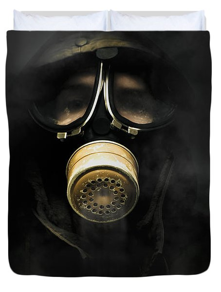 Soldier In Gas Mask Duvet Cover