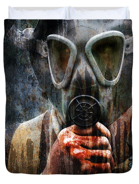 Soldier In World War 2 Gas Mask Duvet Cover
