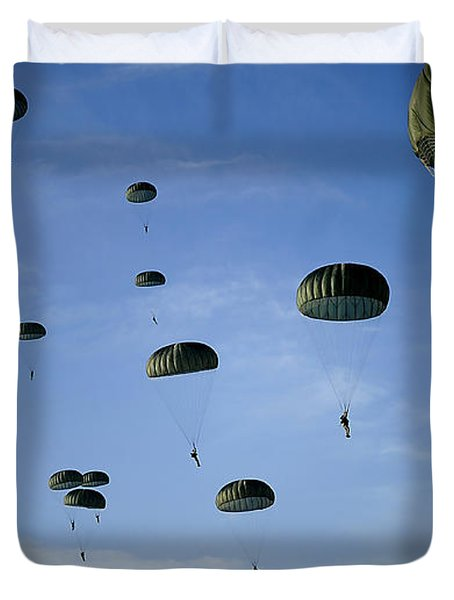 Soldiers Descend Under A Parachute Duvet Cover