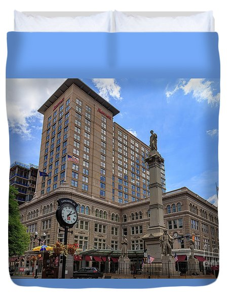 Soldiers Monument In Penn Square In Lancaster Pa Duvet Cover