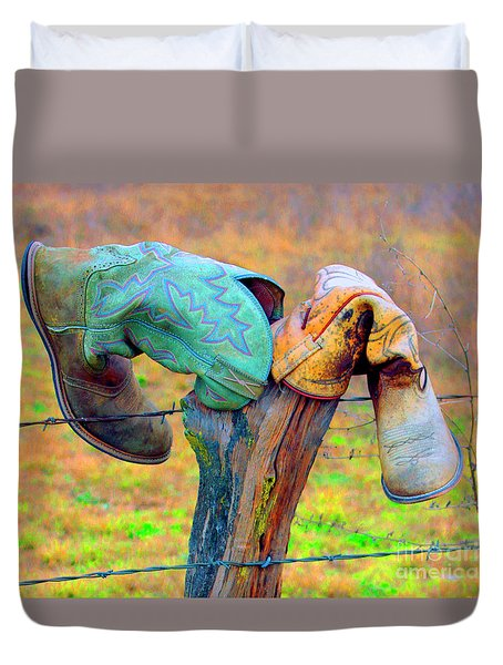 Duvet Cover featuring the photograph Sole Mates by Joe Jake Pratt