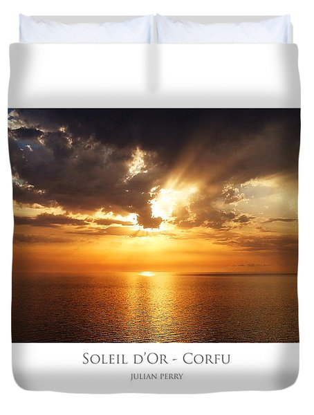 Duvet Cover featuring the digital art Soleil D'or - Corfu by Julian Perry