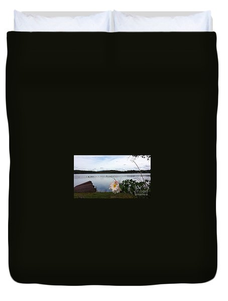Duvet Cover featuring the photograph Solitaire  by Becky Lupe