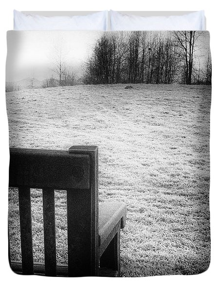 Solitary Bench In Winter Duvet Cover