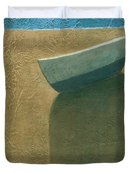 Solitary Boat Duvet Cover by Steve Mitchell