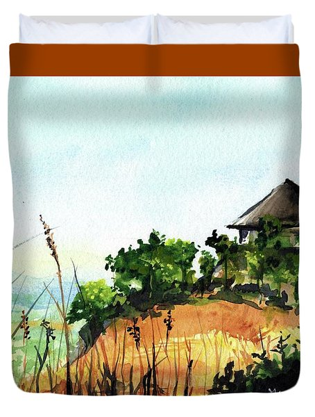 Duvet Cover featuring the painting Solitary Cottage In Malawi by Dora Hathazi Mendes