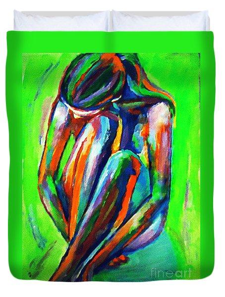 Solitary Figure Duvet Cover by Helena Wierzbicki