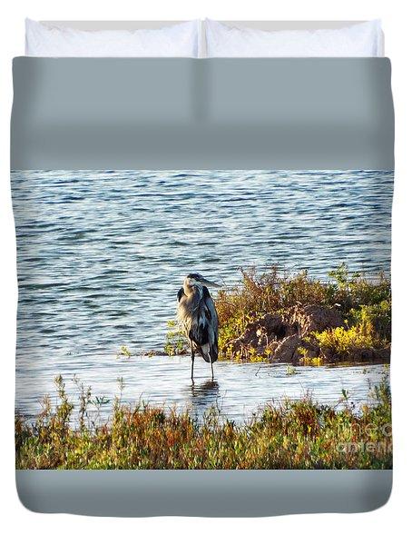 Solitary Heron Duvet Cover by Audrey Van Tassell