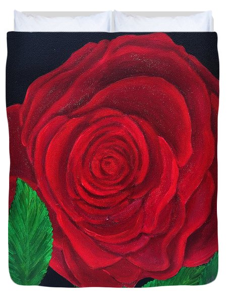 Solitary Red Rose Duvet Cover
