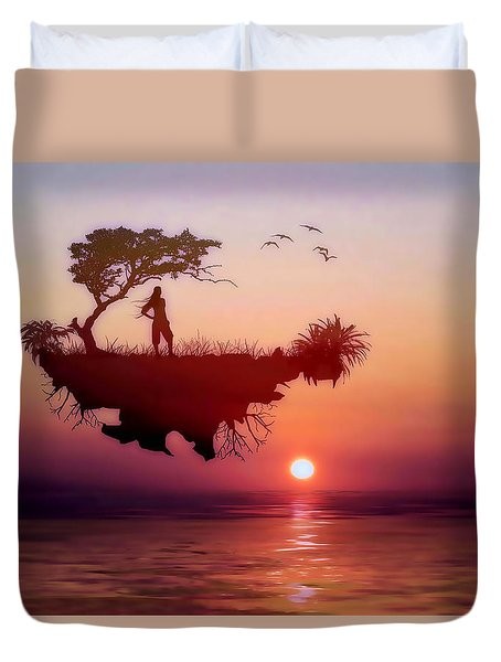 Duvet Cover featuring the mixed media Solitary Sister by Valerie Anne Kelly