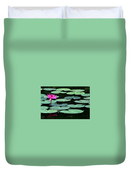 Duvet Cover featuring the photograph Solitary Water Lily by Laurel Talabere