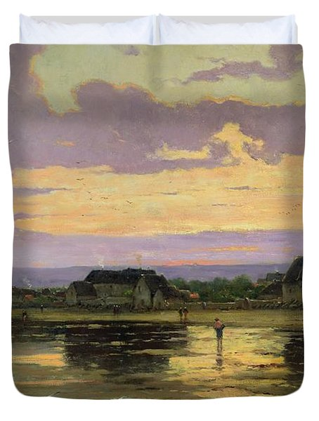 Solitude In The Evening Duvet Cover by Marie Joseph Leon Clavel Iwill