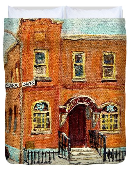 Solomons Temple Montreal Bagg Street Shul Duvet Cover by Carole Spandau