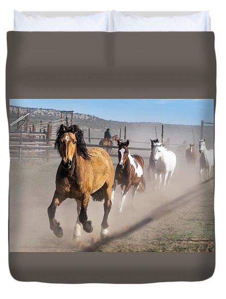 Sombrero Ranch Horse Drive At The Corrals Duvet Cover