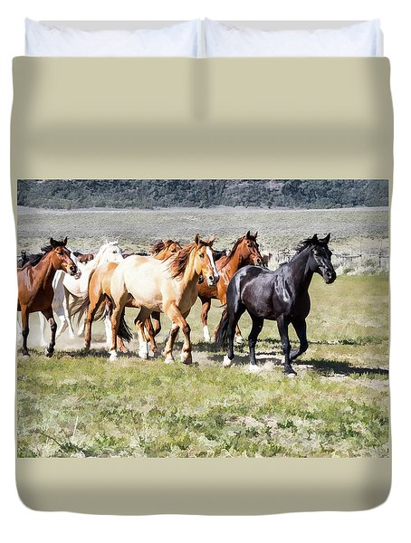 Duvet Cover featuring the digital art Sombrero Ranch Horse Drive, Galloping Horses by Nadja Rider