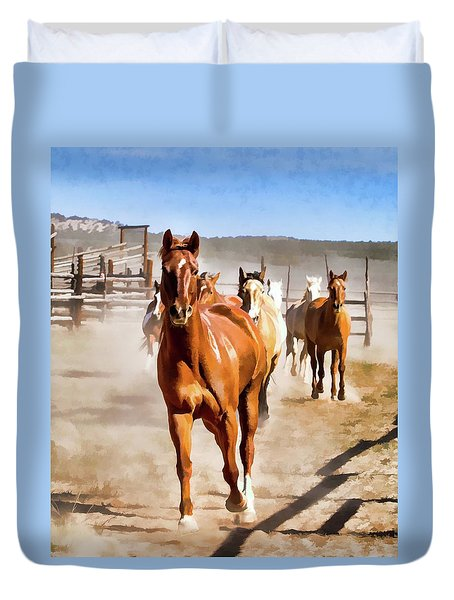 Duvet Cover featuring the digital art Sombrero Ranch Horse Drive, Galloping Into The Dusty Corrals by Nadja Rider