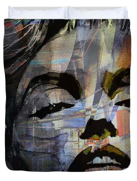 Duvet Cover featuring the painting Some Like It Hot Retro by Paul Lovering