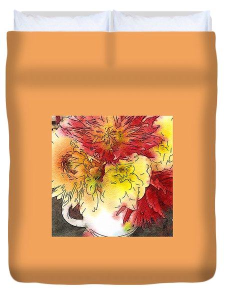 Duvet Cover featuring the photograph Some Summer Dahlias 2 by Ronda Broatch
