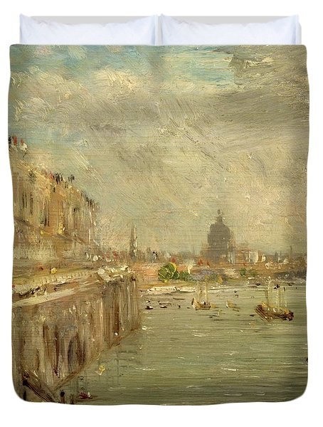 Somerset House Terrace From Waterloo Bridge Duvet Cover by John Constable