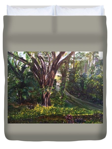 Somewhere In The Park Duvet Cover by Belinda Low