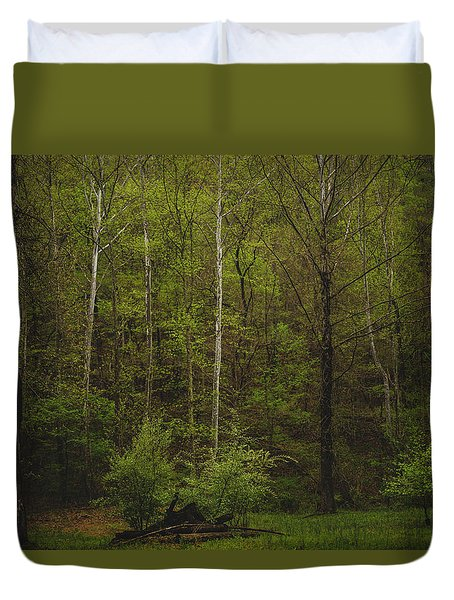 Duvet Cover featuring the photograph Somewhere In The Woods by Shane Holsclaw