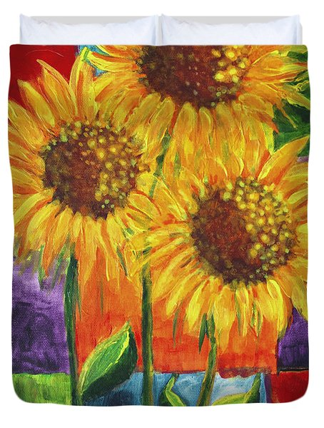 Duvet Cover featuring the painting Sonflowers I by Holly Carmichael