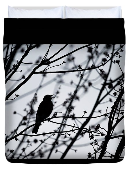 Duvet Cover featuring the photograph Song Bird Silhouette by Terry DeLuco