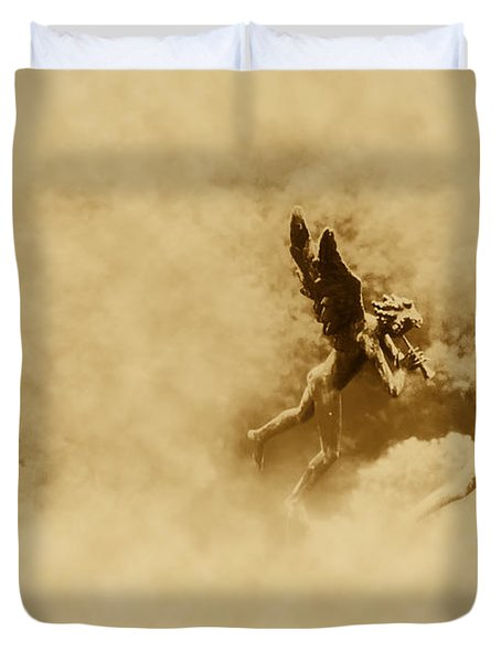 Song Of The Angels In Sepia Duvet Cover by Bill Cannon