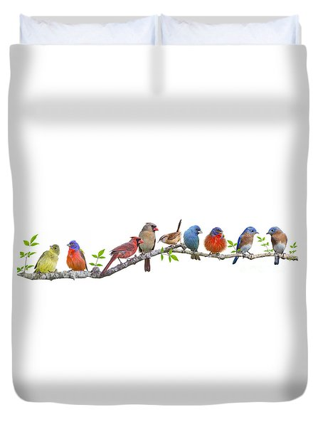 Songbirds On A Leafy Branch Duvet Cover by Bonnie Barry