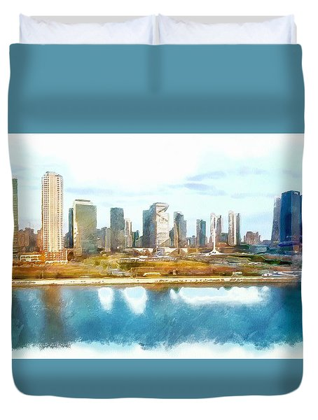 Duvet Cover featuring the painting Songdo Concept City by Mario Carini