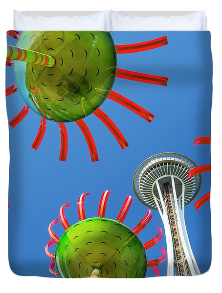 Duvet Cover featuring the photograph Sonic Bloom In Seattle Center by Adam Romanowicz