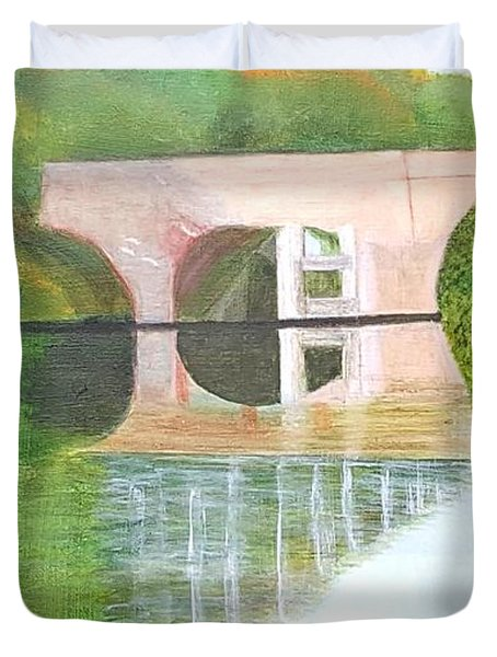 Sonning Bridge In Autumn Duvet Cover by Joanne Perkins
