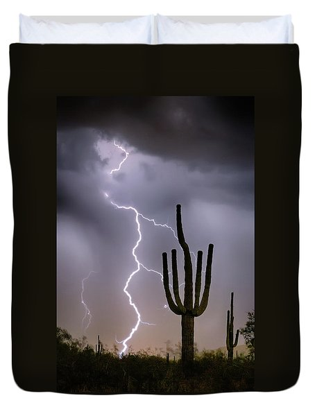 Duvet Cover featuring the photograph Sonoran Desert Monsoon Storming by James BO Insogna