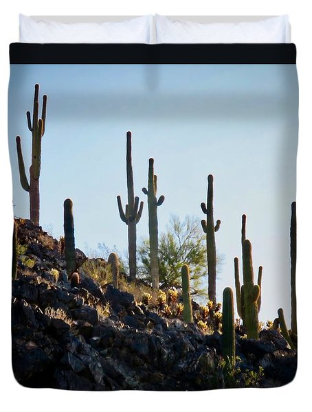 Sonoran Desert Saguaro Slope Duvet Cover