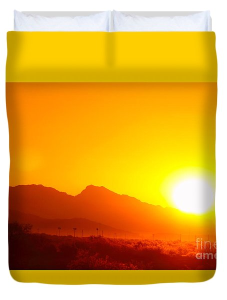 Duvet Cover featuring the photograph Sonoran Desert Sunrise by Max Allen