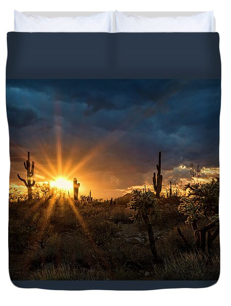 Duvet Cover featuring the photograph Sonoran Gold At Sunset  by Saija Lehtonen