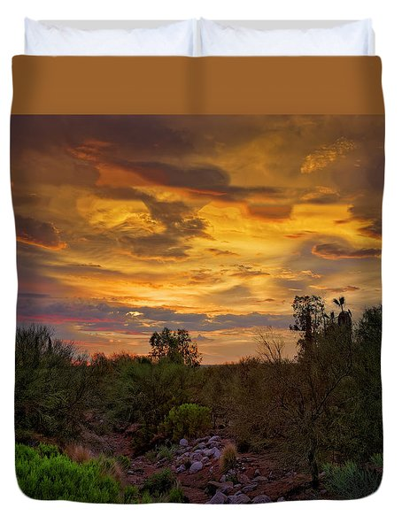 Duvet Cover featuring the photograph Sonoran Sonata H01 by Mark Myhaver