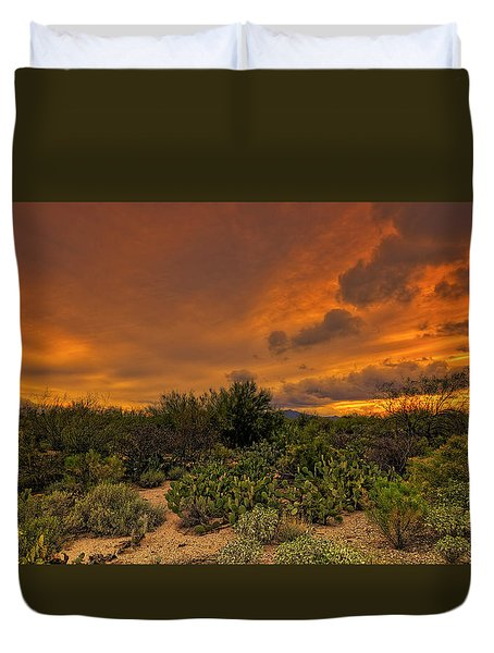 Duvet Cover featuring the photograph Sonoran Sunset H4 by Mark Myhaver